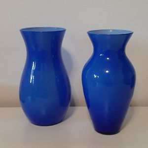 Beautiful Electric Blue Matching Vases